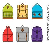 backpack isolated icons set on...   Shutterstock .eps vector #323716442