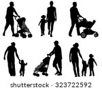 parents walking with their... | Shutterstock .eps vector #323722592