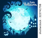 halloween poster and card.... | Shutterstock .eps vector #323741708