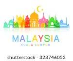 malaysia travel landmarks....   Shutterstock .eps vector #323746052