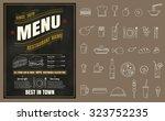 restaurant fast foods menu on... | Shutterstock .eps vector #323752235
