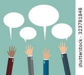 hands raised with speech bubble.... | Shutterstock .eps vector #323781848