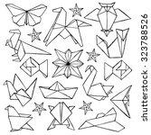 origami hand drawn doodle set.... | Shutterstock .eps vector #323788526