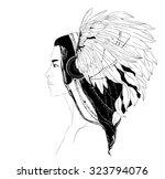 portrait of young girl in... | Shutterstock . vector #323794076