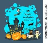 halloween house ghost pumpkin... | Shutterstock .eps vector #323813282