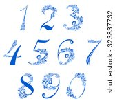 number set made of snowflake... | Shutterstock .eps vector #323837732