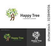 happy tree tree logo h letter... | Shutterstock .eps vector #323849036