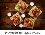 to pdown view of chicken wing... | Shutterstock . vector #323849192