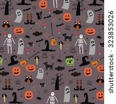 happy halloween vector print... | Shutterstock .eps vector #323853026