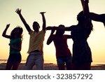 friendship  summer vacation ... | Shutterstock . vector #323857292