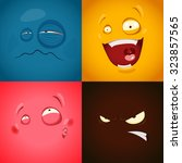 set with cute cartoon emotions | Shutterstock .eps vector #323857565