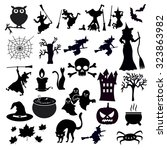 set of halloween icons on white ... | Shutterstock .eps vector #323863982