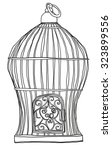 Old Bird Cage Line Art Cute