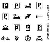 vector black parking icon set.  | Shutterstock .eps vector #323912555