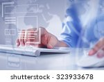 hands of businessman working... | Shutterstock . vector #323933678
