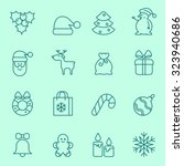 christmas icons  thin line... | Shutterstock .eps vector #323940686