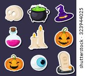 set of halloween stickers... | Shutterstock .eps vector #323944025