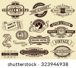 15 vintage labels and banners.... | Shutterstock .eps vector #323946938