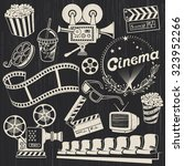 hand drawn retro cinema... | Shutterstock .eps vector #323952266