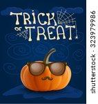 halloween hipster pumpkin... | Shutterstock .eps vector #323979986