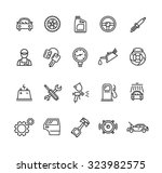 car service outline icons set.... | Shutterstock .eps vector #323982575