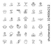 charity and donation line icons ... | Shutterstock .eps vector #324006212