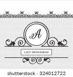 letter a black lace monogram ...