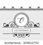 letter o black lace monogram ... | Shutterstock .eps vector #324012752