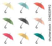 Umbrella Vector Set In Nine...