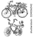 bikes with flowers drawings set | Shutterstock .eps vector #324036542