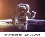 Stock photo beautiful cat in outer space elements of this image furnished by nasa 324036905