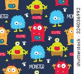 seamless pattern with monsters... | Shutterstock .eps vector #324036992