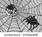 spider on human skull in...   Shutterstock .eps vector #324066848