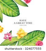 watercolor flowers card. bright ... | Shutterstock . vector #324077555