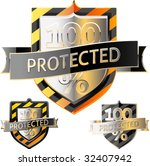 shields in black and yellow... | Shutterstock .eps vector #32407942