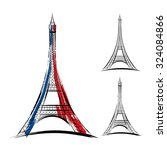 Vector Eiffel Tower On White...