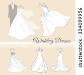 5 wedding dresses vector set.... | Shutterstock .eps vector #324099956
