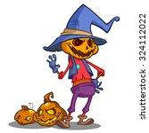 cartoon pumpkin scarecrow.... | Shutterstock .eps vector #324112022