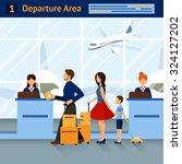 scene airport departure area... | Shutterstock .eps vector #324127202