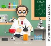 scientist in chemistry lab with ... | Shutterstock .eps vector #324127352