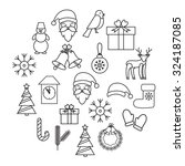 line icons for christmas and... | Shutterstock .eps vector #324187085
