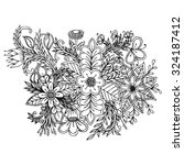 white and black doodle floral... | Shutterstock .eps vector #324187412