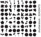 hundred flower silhouettes | Shutterstock .eps vector #32420473