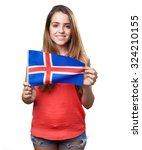 young woman holding an iceland... | Shutterstock . vector #324210155