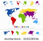 colorful world map with... | Shutterstock .eps vector #324228536