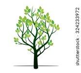 green tree. vector illustration. | Shutterstock .eps vector #324233972