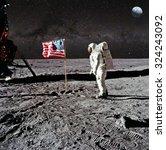astronaut on lunar  moon ... | Shutterstock . vector #324243092