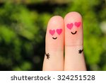 Finger Art Of Happy Couple. Man ...