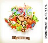New Year  Monkey Vector...