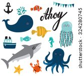 vector set of sea creatures and ... | Shutterstock .eps vector #324280745